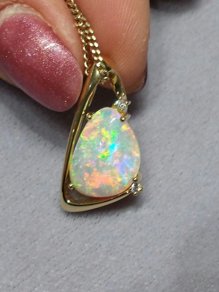 CRYSTAL OPAL 5 colour gem set in 18ct gold with Diamonds Code 20203535 A$6000