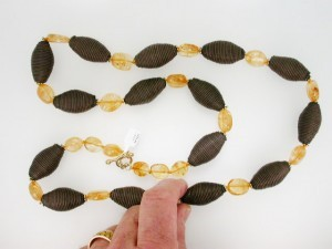 CITRINE & LEATHER beads (A$150)