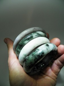 JADEITE (natural colour) bracelets $50 to $80