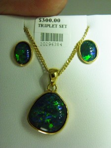 OPAL TRIPLET Gold plated sterling silver set