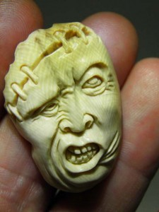 Mammoth Ivory Jewellery carving piece stitchface...$60
