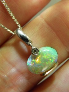Another view OPAL SOLID 18 ct white gold pendant