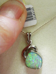 OPAL SOLID 18 ct white gold pendant (A$1250)
