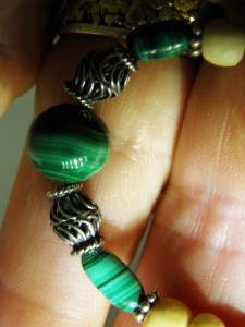 Close up of MALACHITE & sterling silver beads
