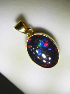 TRIPLET OPAL (18x13mm) Gold plated sterling silver Code 20329327 A$150