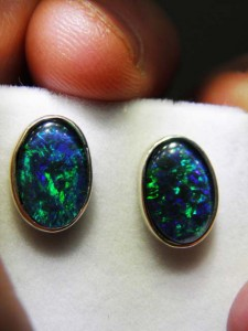 OPAL TRIPLET (14x10mm) sterling silver studs Code 20329372 A$180 A$150