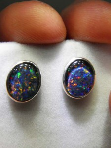 OPAL TRIPLET (10x8mm) sterling silver studs Code 20329648 A$120 A$150