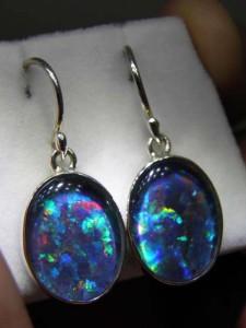OPAL TRIPLET (16x12mm) sterling silver drops Code 20294083 A$220