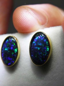 TRIPLET OPAL (12x8mm) gold plated sterling silver Code 20320194 A$150 pair