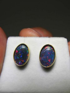 TRIPLET OPAL (12x8mm) gold plated sterling silver Code 20313555 A$150 pair
