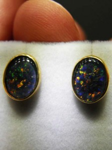 TRIPLET OPAL (10x8mm) gold plated sterling silver Code 20313524 A$120 pair