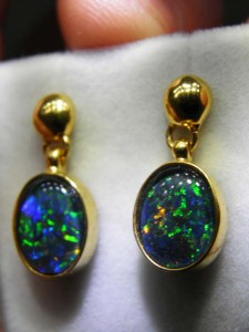 TRIPLET OPAL (10x8mm) gold plated sterling silver Code 20294199 A$120 pair