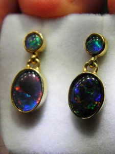 TRIPLET OPAL (9x7mm) gold plated sterling silver Code 20294229 A$100 pair