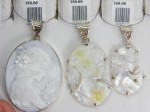 Mother of Pearl cameo sterling silver pendants