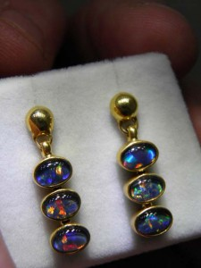 TRIPLET OPAL (6x4mm) gold plated sterling silver Code 20294151 A$150 pair