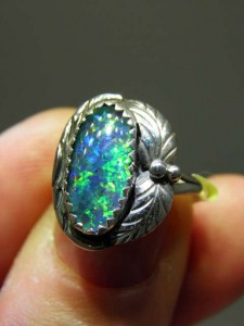 OPAL TRIPLET (14x7mm) sterling silver ring Code 20317454 A$100