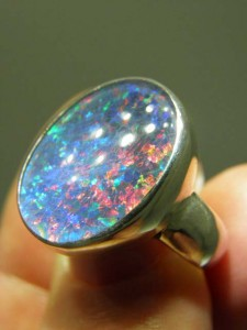 OPAL TRIPLET (18x13mm) sterling silver ring Code 20279936 A$220