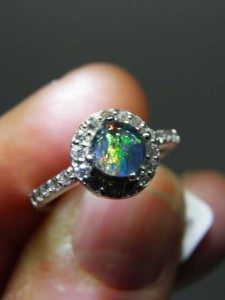 OPAL TRIPLET (5mm) sterling silver ring Code 20318581 A$100