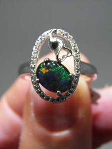 OPAL TRIPLET(9x7mm) sterling silver ring Code 20317256 A$120