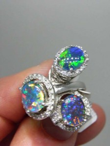 OPAL TRIPLETS sterling silver rings in true 'bling' style