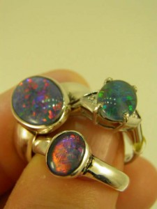 OPAL TRIPLETS sterling silver rings in standard designs