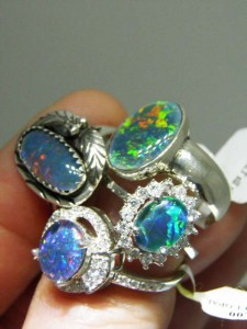 OPAL TRIPLETS sterling silver rings in lots of styles