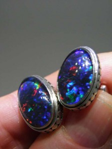 TRIPLET OPAL (16x10mm) sterling silver cufflinks Code 20302115 A$350 pair