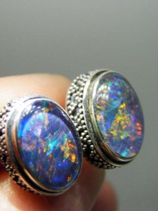 TRIPLET OPAL (14x10mm) sterling silver cufflinks Code 20302122 A$300 pair