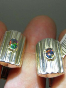 TRIPLET OPAL (7x5mm) sterling silver cufflinks Code 20255428 A$130 pair