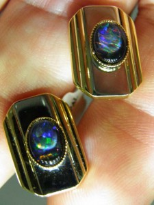 OPAL TRIPLET (8x6mm) Gold/Rhodium Cufflinks Code 20334901 A$100