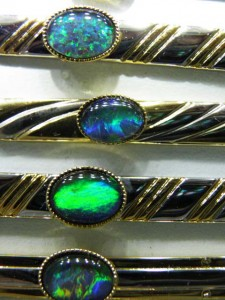 Close up of opals in Opal triplet Tie Bars A$50 each