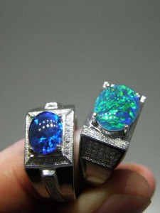 OPAL TRIPLET with CZ sterling silver Men's rings