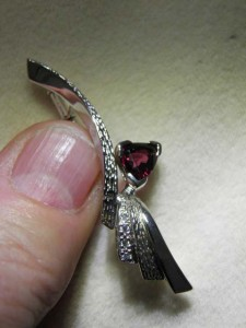 GARNET Sterling silver brooch (50mm long) Code 20221003 A$150