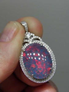 TRIPLET OPAL (20by15mm) Set with Cubic Zirconia Sterling silver Code 20350482 A$200