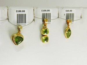 PERIDOT set in gold plated sterling silver Birthstone for August